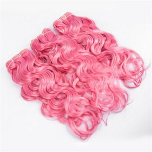 Húmedo y ondulado Pure Pink Brasileño Virginal del pelo humano teje extensiones de agua Onda doble Doble color rosa paquetes de cabello humano Ofertas 3Pcs / Lot