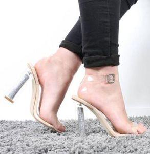 2018 Hot Sale Ankle Wrap Lady Transparent Heels Stiletto Sexy High Heels Sandals Summer Party Dress Women Pumps Shoes Rome Style