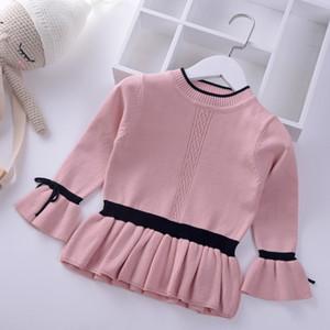 Princesse style filles pull bébé pull en tricot chaud enfants vêtements 2018 automne hiver volants enfants pulls vêtements scolaires