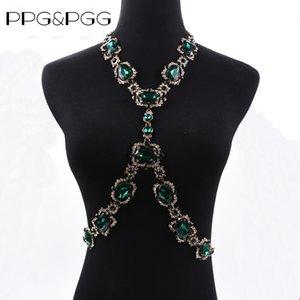 Collana di dichiarazione della catena Maxi Choker di cristallo verde di modo dei monili del corpo di Bohomian PPGPGG per le donne