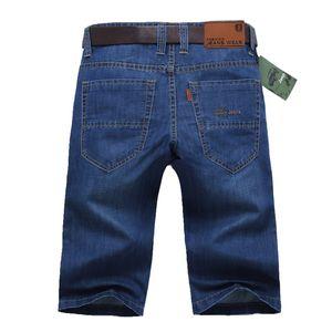 Bermuda Jeans estivi da uomo Pantaloni da uomo Pantaloni da equitazione in denim elasticizzato dritto elasticizzati Mens Elastic Hot Blue Light Size