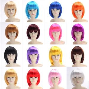 Синтетические волосы парики короткие Боб парики мода девушка прямые челки Боб популярный фестиваль леди партии косплей парик костюм парики