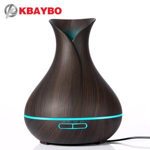 KBAYBO 400ml Aroma Essential Oil Diffuser Ultraschall-Luftbefeuchter mit Holzmaserung elektrische LED-Leuchten Aromazerstäuber für Zuhause