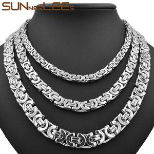 Joyería de moda collar de acero inoxidable 6 mm 8 mm 11 mm caja de cadena de enlace bizantino de color plata para hombre para mujer SC07 N