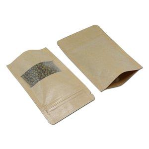 100 piezas de papel Kraft Stand Up Zip Lock bolsas de embalaje con ventana mate transparente que se puede volver a sellar bolsas de embalaje de aperitivos de cremallera marrón