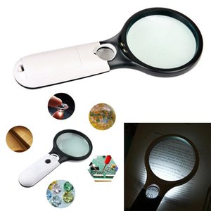 Magnifier Scope 3 LED 45X Loupe Objectif de poche Mini Microscope de poche de lecture Bijoux GGA681 50pcs