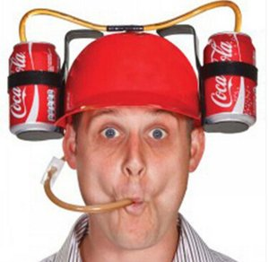 7 Farben Straw Helm Trinken von Hut Bier Soda Dual-Stroh-trinkende Hüte Weihnachtspartybedarf Getränkehalter Party-Hüte