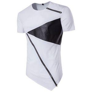 Хай-стрит мода мужчины нерегулярные футболка молния дизайнер лоскутное верхняя одежда мужчины экипаж шеи футболки летние рубашки