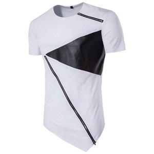 Футболка шеи Мода рубашки нештатных T Top Мужчины Дизайнер Crew Лоскутная рубашки Zipper одежда Street High Summer Men Ataio
