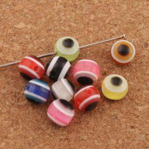 1000 pz / lotto 6mm Evil Eye Stripe Rotondo della resina Spacer Beads Multicolor L3041 Branelli allentati vendita calda Gioielli FAI DA TE