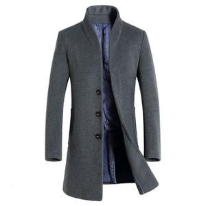 Brand New Long Manteau De Laine Hommes Casual Mode Pea Manteau Veste Mélange De Laine Vestes D'hiver Hommes Manteau De Laine