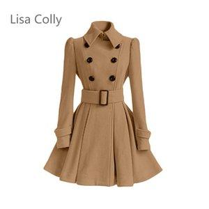 Lisa Colly Fashion Maniche lunghe Donna Caldo lana Bianco Nero Cappotti Giacche Donna Cappotto allentato 2018 Autunno Slim Pensa Capispalla