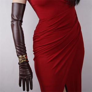 Ultra lange Lederhandschuhe 60cm Lange Emulation echtes Leder PU-Handschuhe Weibliche Unlined Frauen PU-P15