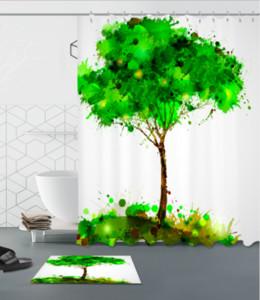 Wohnkultur 3D Duschvorhang Handgefertigte Landschaft Baum Muster Moderne Landschaft Wasserdichte Zeitgenössische Stil Vorhänge fußmatten sets