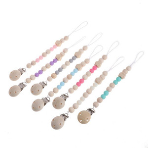 Baby Clip Chain Holder Wood Beaded Pacifier Soother Holder Clip Nipple Teether Dummy Strap Chain EEA64