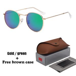 Occhiali da sole rotondi di marca di alta qualità 1pcs Occhiali da sole di marca del progettista delle donne degli uomini Occhiali da sole in metallo nero nero scuro uv400 con custodia marrone