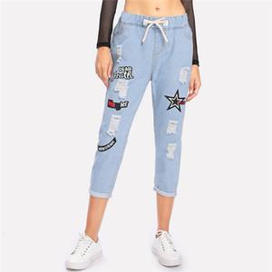 Rasgado Cuffed Jeans Mulheres Impressão Offset Azul Cordão Meados de Cintura Calças Jeans Moda Casual Bolsos Jeans Recortados Venda Quente