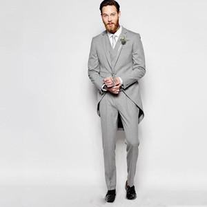 Elegent gris Frac smokings marié hommes costumes pour mariage Veste longue Vintage Groomsmen Costumes 3 Pantalons Pieces Gilet Epoux Dîner Matin