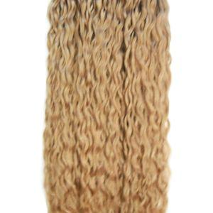 Micro Loop Nano Curly Ring Extensiones de cabello 1g / s 300g Rizado cabello humano Fusion Remy Natural Hair