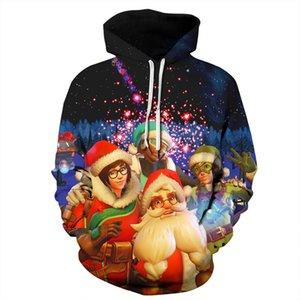 Havai Fişek Santa Claus Baskı Hoodie Kazak Erkekler Kadınlar Unisex 3D Noel Hoodies Erkekler Harajuku Hip Hop Hoody Tişörtü Adam
