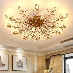 Moderna K9 Crystal LED Flush montaje en techo luces de araña de oro del accesorio Negro Casa Lámparas para el dormitorio Cocina Sala de estar
