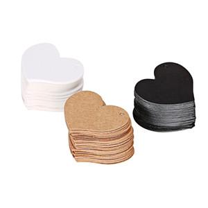 50pcs / lot 4.5 * 4cm Heart Shape Kraft Бумажная карточка Свадебный подарок с подарком для подарков DIY Tag Price Label Party Favor 3 Colors