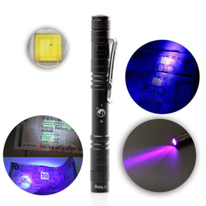 U`King Portable 395nm UV Mini linterna LED para falsificar dinero Distinguishing Torch Light Mini Pen Flashlight antorcha Lámpara Envío gratis