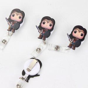 10 PC / lot 아크릴 원더 여성 귀여운 만화 개폐식 배지 릴 Exihibiton ID 이름 카드 배지 홀더 사무 용품