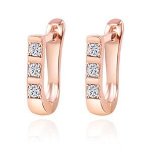 U-Form-Bolzen-Band-Ohrring-Gold-Silber-Farbe Zirkonia Verlobungs Kleiner Knopf Ohrring-Band für Frauen-Schmucksachen Weihnachtsgeschenk