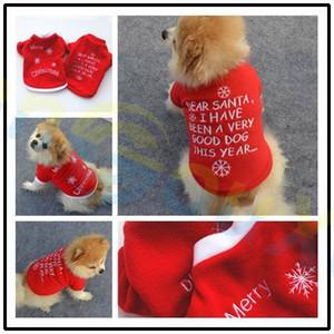 Ropa para mascotas pequeña Gato Cachorro Teddy Dog Fleece Chaleco bordado Navidad Año Nuevo Otoño Invierno Ropa para perros camiseta