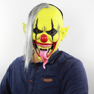 Scary Halloween del vampiro accesorios del traje del 50% del horror Cara amarilla del payaso máscara de la película Papel Carnival Mask cubierta de la cabeza de látex de Navidad