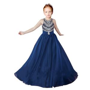 2018 Sparkly Lacivert Kızlar Pageant Elbiseler Ucuz Bir çizgi Şifon Kristal Rhinestone İlk Communion Çocuk Bebek Çiçek Kız Elbiseler uzun