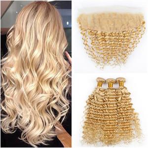 # 613 Blonde Virgin Indian Huamn Hair 3Bundles con Full Frontal Onda profunda Ondulado del cabello rubio ondulado Tramas con 13x4 Cierre frontal de encaje
