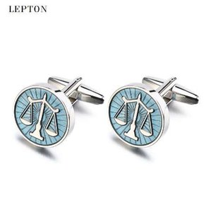 Hot Sale Libra Scales Cufflinks Lepton Stainless Steel Round balance Cuff links for Mens Shirt Studs Gift Lawyer Relojes gemelos