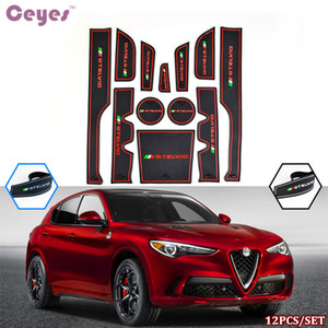 Auto Car Porta Mat Gate Slot Pad Tazza antiscivolo per Alfaromeo Stelvio Pad Tappetini di gomma Interni Decorazione interna Copertina Car Styling 12pcs / Set