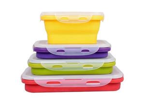 4 contenitori pieghevoli portatili di immagazzinaggio alimentare della scatola di pranzo di Eco del silicone 350ml 540ml 800ml 1200ml trasporto libero