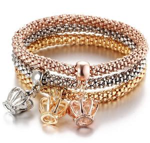 Altın Zincir Bilezik Alaşım üç renk set elastik patlamış mısır mısır zincir elmas kolye bilezik kadın aksesuarları Acc042