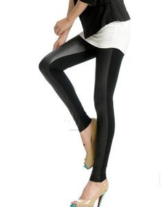O ENVIO GRATUITO de Moda Womens Patch De Couro Legging para As Mulheres Jean Calças Compridas PU Faux Leather + Calças de Algodão Preto