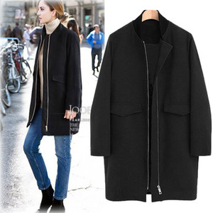 New Autumn Winter Women Coats Plus Size Fashion Stand Collar Loose Zipper Solid Woolen Blends Trench Coat For Women Outerwear 4L
