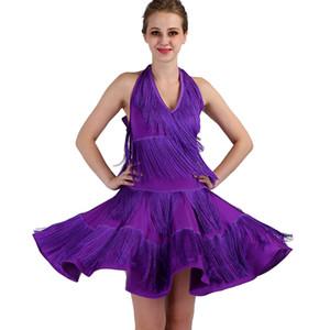Mor fringe latin dans yarışması elbiseler tango latin elbise kadın kızlar dancewear dans kostümleri kadın kız