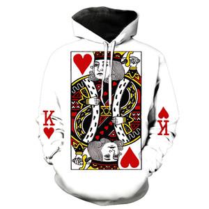 패션 남자 / 여자 모자 후드 프린트 카드 놀이 카드 3 차원 후드 티 스웨터 후드 트랙 슈트 후드 트랙 슈즈 Hoome 탑스 유니섹스