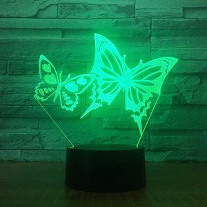 Крылья бабочки LED Night Light Panel Stereo 3D Illusion Таблица Настольная лампа Xmas лампы Новизна Ночь # R45