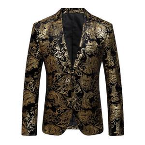 2018 Nuovo Maschio floreale abito giacca Mens Blazer Moda singole Button Abito Slim Fit partito Blazers Plus Size M-4XL