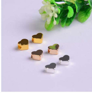 10pcs lot copper Charms bead for Jewelry DIY Making gold silver heart Beads Spacer Bead for necklace