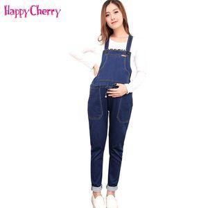 4XL 출산 탄력있는 청바지 작업복 임신 한 여자 봄 가을 데님 점프 슈트 출산 턱 받이 바지 임신 한 바지