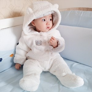 2018 Baby Girl Tender recém-nascidos roupa do bebê do urso do menino macacãozinho com capuz de pelúcia Jumpsuit inverno macacões For Kids Roupa Menina