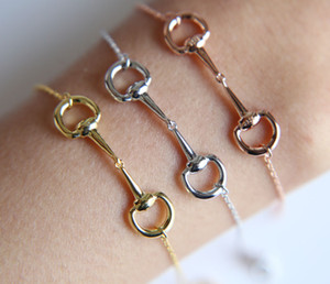 Classic bit Charm Bracelets 100% Real 925 Sterling Snaffle Bracelet Horse Jewellery With Color Rose For Women Jewelry