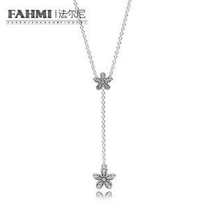 FAHMI S925 Sterling Silver Sakura Flower Pendenti delle collane Fiori di ciliegio con catena choker collana collare gioielli 590540CZ