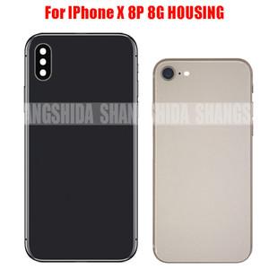 Yüksek Kaliteli Geri Tam Konut kapak Pil Kapağı Arka Kapı Şasi Çerçeve iphone 8 8G 4.7 '' ve 8 Artı 5.5 '' veya iphone X