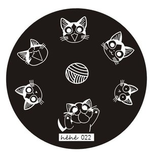Nueva marca HAICAR 1PC Stencils para uñas Cute cat Nail Art Image Stamp Stamping Plates Manicure Template Hehe Series Pretty